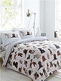 Funda de edredón Individual con perros adorables y 2fundas de almohada, juego de ropa de cama con estrellas