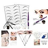 MagiDeal Eyebrow Microblading Augenbrauen Tattoo Kit, Permanente Make-up Set Augenbraue Tattoo Stift, Augenbraue Lineal, Übungshaut, Pigmentringe, Praxis Tinte, Tattoo Nadeln, Bleistift und Pigment Tinte