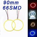 Grandview 1 Paar Red 90mm COB Angel Eyes Halo-Ring-Lampen-Gl¨¹hlampe 66SMD LED Auto Scheinwerfer Dekoration Beleuchtun