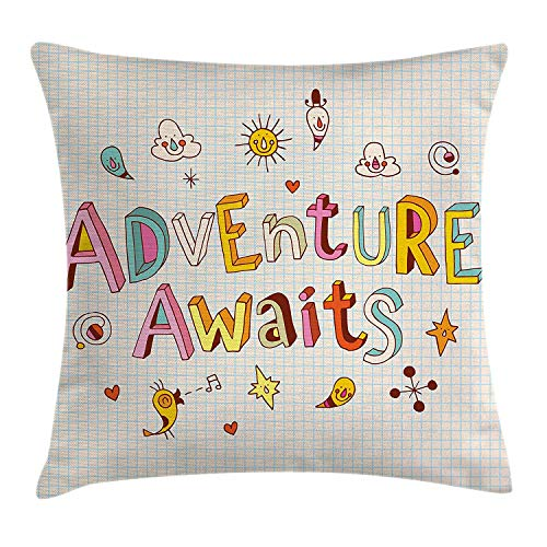 Adventure Throw Pillow Cushion Cover, Cartoon Style Doodle Quote with Cute Little Monsters and Animals Colorful Design, Decorative Square Accent Pillow Case, 18 X 18 Inches, Multicolor