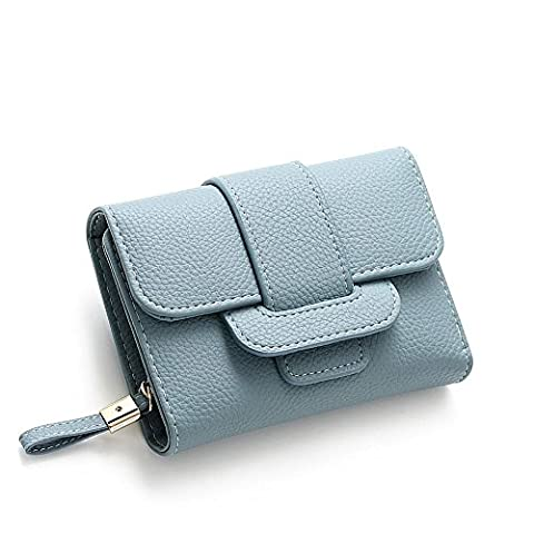 Woolala Womens Soft PU Leather Compact Wallet Trifold Multi Card Slots Cash Cards Bills Holder Short Purse, Blue