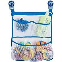 mDesign – Cesta de ducha con ventosas – Sin taladro – Neceser con 3 bolsillos para bañera – Ingenioso organizador de baño colgante, ideal para esponjas, champú o juguetes – Transparente