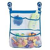 mDesign sac de rangement suspendu sans perçage – filet de rangement mural avec 3 poches – serviteur de douche pour accessoires de douche, shampooings, jouets pour le bain – transparent/bleu