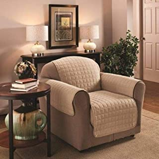 1 Seater 23 x 70.5 Cream Quilted Sofa Protector Water Resistant Finish by Ashley Mills