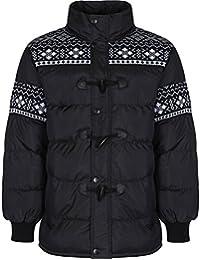Men's Designer Aztec Panels Padded Bomber Jacket Warm Quilted Winter Puffer Coat