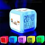 Dormitorio con datos de encendido reloj despertador 7cambio de color LED y pantalla de temperatura (presillas Color) personalizar la pattern-385. Silicona mascota envase de alimento 1L