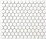 1 m2 de estera de azulejos de mosaico blancos mate, cerámica de estructura hexagonal (MT0089m2)