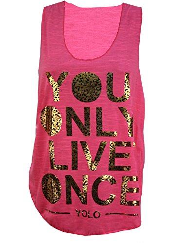Nouveau Femmes Neon Couleur brûlant Age Out Yolo Imprimer Racer Gilet Hauts 36-42 Neon Pink