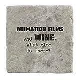 Animation Filme und Wein Was ist noch?–Marble Tile Drink Untersetzer