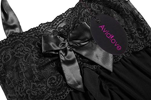 Avidlove Damen Negligee Neckholder Reizwäsche mit Vorderverschluss Nachthemd aus Spitzen und Netz Nachtkleid Dessous Nachtwäsche Schwarz