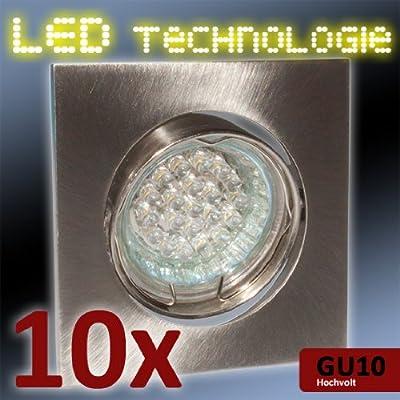 10er SET Einbauleuchte / LED Lampe 1,1 Watt Hochvolt / Warm Weiß / Edelstahl optik von PROKIRA bei Lampenhans.de
