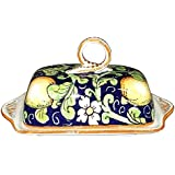 CERAMICHE D'ARTE PARRINI- Italienische Kunstkeramik, Butterdose Dekoration Zitronen, handgemalt, hergestellt in Italien Toscana