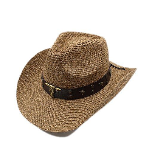 Hollow Western Cowboy Hut Cowgirl Jazz Reiter Cap Sommer Sombrero Beach Sonnenhut Punk Tauren (Farbe : Brown, Größe : 58 cm) ()