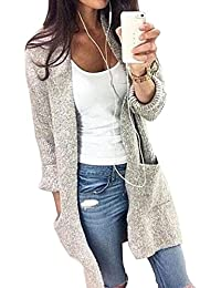 YOUJIA Femmes Casual Mi-longue Manche longue Tricot Chandail Cardigans Pull Sweaters