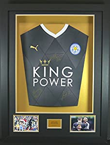 Vardy, Mahrez and Kante Leicester City Signed Shirt 3D Framed Display with COA