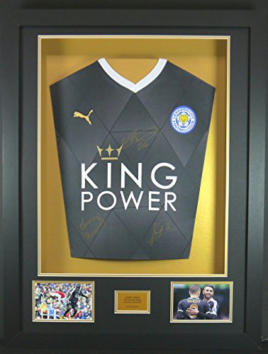 Vardy-Mahrez-and-Kante-Leicester-City-Signed-Shirt-3D-Framed-Display-with-COA