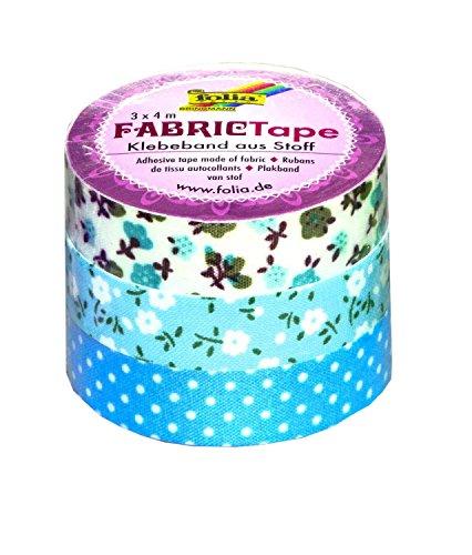 Folia 27304 - Fabric Tape, 3-er Set, blautöne
