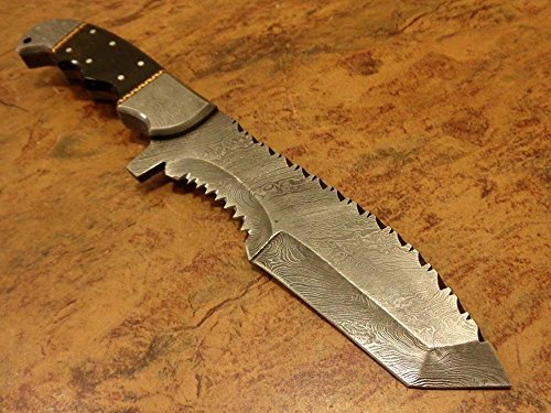 Dailyforge Custom Made Damascus Steel Tracker Knife with Bull Handle and Damascus Guard (Damascus Knife Tracker)