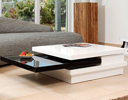 Couch-Tisch weiß/schwarz Hochglanz aus MDF 120x80cm recht-eckig   Goci   Moderner Wohnzimmer-Tisch weiss/schwarz mit drehbarer Platte   Geöffnet 160cm x 80cm