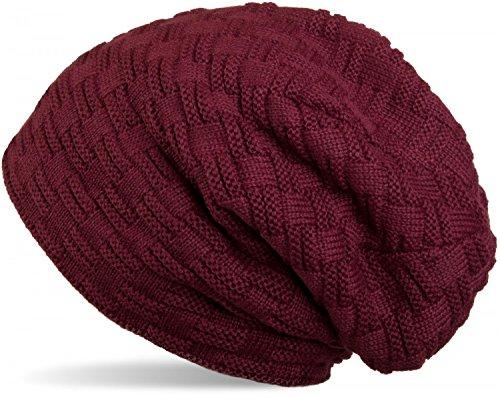 styleBREAKER warme Feinstrick Beanie Mütze mit Flecht Muster und sehr weichem Fleece...