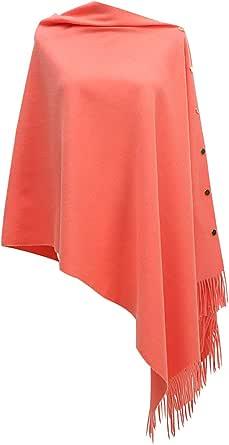 CARCOS Donna Poncho con Frange e Bottoni Scialle Cardigan Sciarpa Mantella Donna Elegante Caldo per Primavera Autunno Inverno