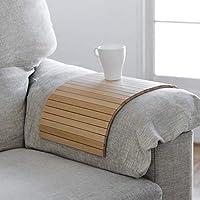 bandeja que se adapta al brazo del sofá y a todas las superficies inestables. Fabricado en madera de haya, color natural