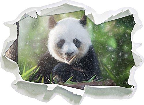 Niedlicher Panda isst Bambus Kunst Buntstift Effekt, Papier 3D-Wandsticker Format: 92x67 cm...
