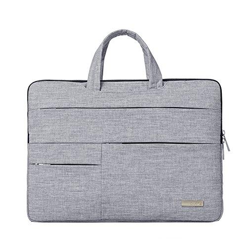 Feisman 13-13,5 Zoll Business Wasserdicht Laptop und Macbook Handtasche, Laptop Sleeve Multifunktionale Schutzhülle Tasche für 12,9 iPad Pro / 13,3 Zoll Laptop MacBook Pro Air -(Grau)