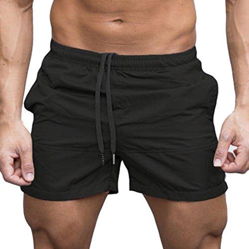 URSING Sommer Herren Shorts Fitness Bodybuilding Mode Lässige Super Gemütlich Atmungsaktiv Kurze Hosen Sporthose Schwimmhose Beachshort Schwimmhose Freizeithose Strandshorts (M, Schwarz)