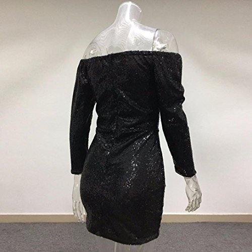 robe femme, Transer ® Robe Sexy femmes pailleté sur épaule manches longues robe de soirée Party Noir