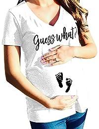 WEIMEITE Camiseta de Maternidad Ropa de Maternidad Ropa de Lactancia Carta de Impresión Ropa para Embarazadas