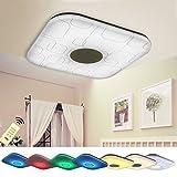 Natsen 24W Modern Deckenlampe LED Deckenleuchte RGB Nachtlicht voll dimmbar Fernbedienung (460*460mm /1920-2400Lumen) YX809F