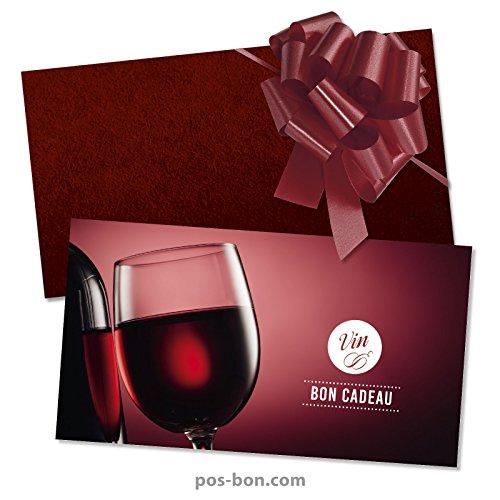 25 Bons cadeaux + 25 enveloppes + 25 noeuds rubans pour marchands de vin, vinothèques, tavernes W1223F