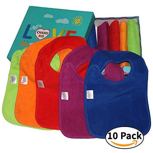 best-baby-zahnen-latzchen-mit-snaps-schliessung-10er-pack-wasserdicht-100-terry-baumwolle-bunt-dribb