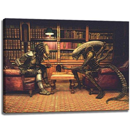 Alien vs. Predator Schach Motiv auf Leinwand im Format: 80x60 cm. Hochwertiger Kunstdruck als Wandbild. Billiger als ein Ölbild! ACHTUNG KEIN Poster oder Plakat! -