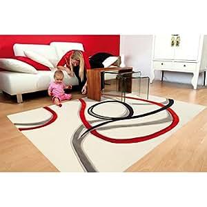 Arte Espina - Designer tapis Arte Espina Spirit Red Trace blanc - Dimension: 070x140 cm
