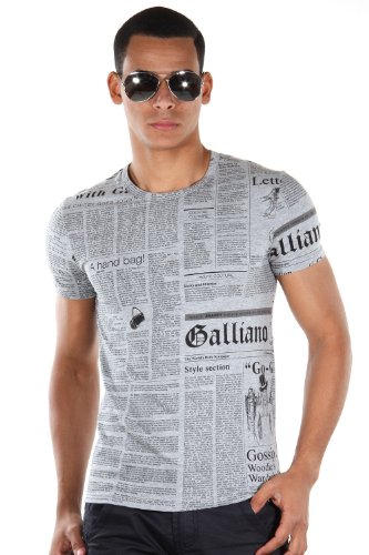 Maglia t-shirt maniche corte girocollo jhon galliano t-shirt crew neck shirt sleeves (50, grigio)