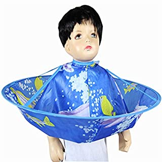 Child Hair Cloak,ANGTUO Children's Waterproof Haircutting Barber Haircut,blue