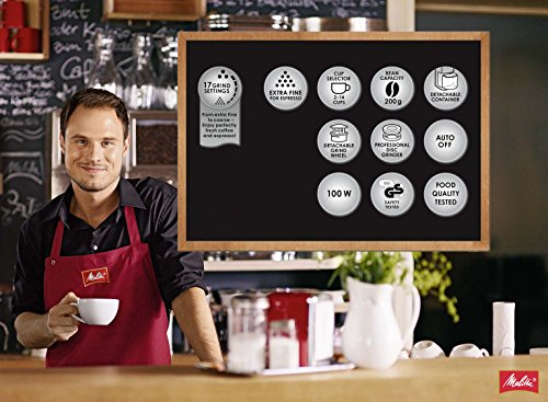 Melitta Molino Coffee Grinder, 1019-01, Electric Coffee Grinder, Flat Grinding Disc, Black/Red