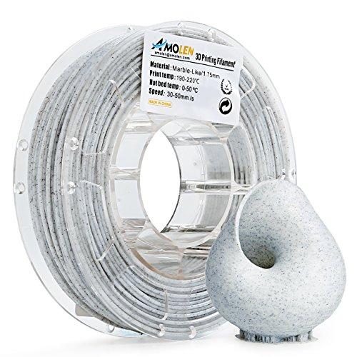 Amolen stampante 3d filamento pla 1.75mm, marmo 225g,+/- 0.03mm materiali filamenti per stampanti 3d, include campione seta e bronzo filamento.