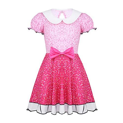 Agoky Mädchen Prinzessin Kleid Kinder Partykleid Kurze Puffärmel Peterpan Kragen Bowknot für Karneval Weihnachtsfeier Cosplay Kostüm Outfits Rosa - Peterpan Kostüm