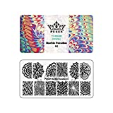 PUEEN Nail Art Stamping Plate - Marble Paradise 01 - Theme Park Collection 125x65mm Unique Nailart Polish Stamping Manicure Image Plates Accessories K