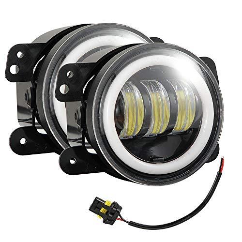 Fendinebbia a LED da 4 Pollici con Halo RingTurbo a LED per Lampadina Jeep su Warm Yellow Light
