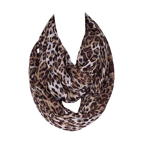 DAMILY Damen Loop Schal Leopard Muster Halstücher Damen Tücher (Farbe1)