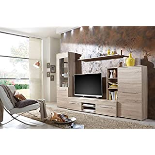 Wohnwand Wohnzimmerschrank Schrankwand TV-Element Anbauwand CANNES in Eiche Sonoma - 288 cm breit / 181 cm hoch / 36 cm tief Made in Germany