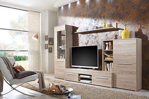 eiche sonoma wohnwand Wohnwand Wohnzimmerschrank Schrankwand TV-Element Anbauwand CANNES in Eiche Sonoma - 288 cm breit / 181 cm hoch / 36 cm tief Made in Germany