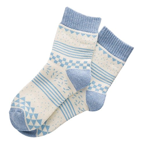 QJIAXING Weibliche Socken Baumwolle Cartoon Terry verdickte Frau Rohr Strümpfe Haufen Socken (10 Paare), Blue Triangle, Average Heavy-duty-terry