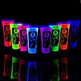 8 x 10ml UV-Bodypaint Körpermalfarben Schwarzlicht fluoreszierende Schminke Bodypainting Neon Farben Leuchtfarben
