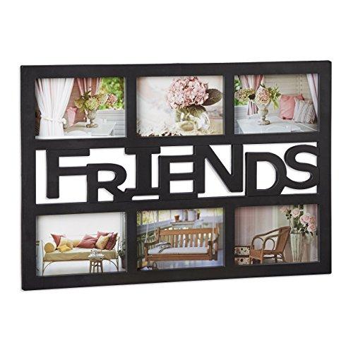Relaxdays Bilderrahmen Freunde, Galerierahmen für 6 Fotos, Fotocollage Rahmen, Kunststoff, HBT: 33x48x1,5 cm, schwarz