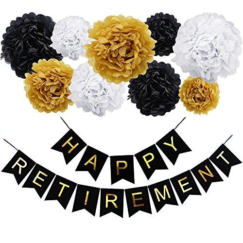 KUNGYO Happy Retirement Party Dekoration Kit-Happy Ruhestand Black Bunting Banner, 9 Stück Seidenpapier Pom Poms Blumen Garland, perfekte Party Supplies Gefälligkeiten (Retirement Dekorationen Für Party)